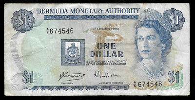 World Paper Money - Bermuda 1 Dollar 1979  @ Fine