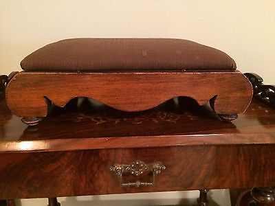 Antique Vintage Walnut & Upholstery Hand Carved Footstool Furniture Victorian