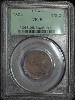 1804 PCGS VF25 Draped Bust 1/2 Cent in an OGH (cro177).