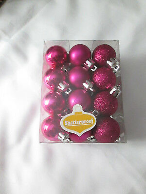 "Box of 22 - 1.5"" Assorted Shatterproof Christmas Ornaments, Fuschia Color, New"