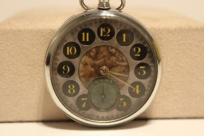 """Antique Art Deco Very Rare Beautiful Swiss Pocket Watch """"cyma""""with Two Children"""
