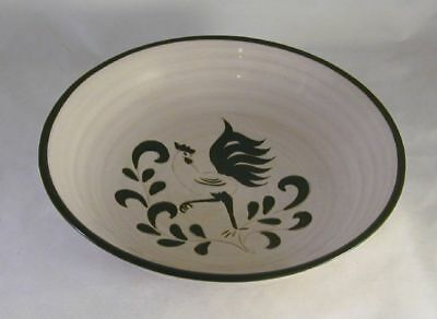 Rare Cream Color Serving Bowl Green Rooster Decoration By Pennsbury Potter