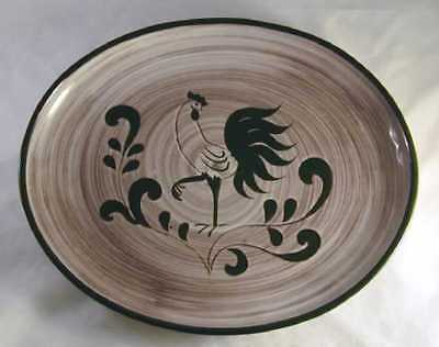 Rare Cream Color Pennsbury Pottery Platter Green Rooster Design