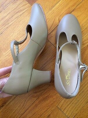 So Danca Dance Character Theater Nude Leather Shoes MISMATCH Left 8.5--Right 8