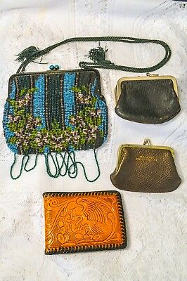 Vintage, Old, Antique, Beaded Purse, Coin Purses, Leather Wallet Lot
