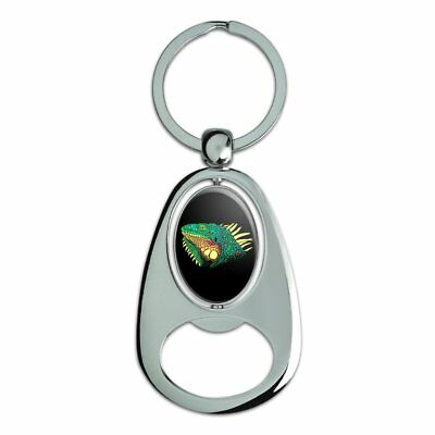 Iguana Head Colorful Chrome Metal Spinning Oval Bottle Opener Keychain