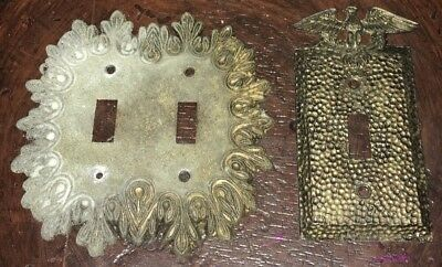 Vintage EDMAR Light Switch Plate Outlet Covers eagle and ornate Lot of 2