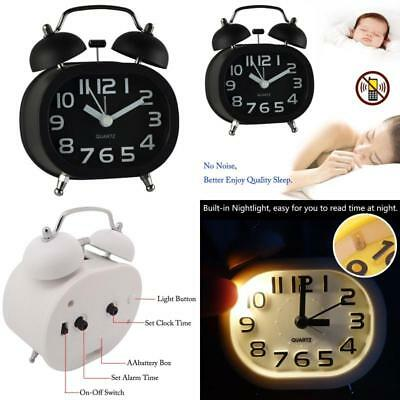 Super Loud Alarm Clock Battery Analogy Non-Ticking Silent with Night Light Bells