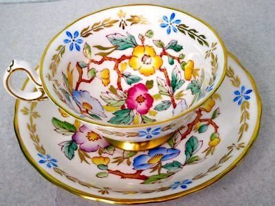 Royal Chelsea Hand Painted Flowers Gold 385A Bone China Cup & Saucer