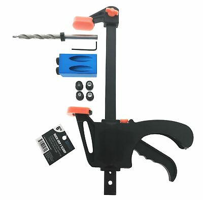 "Essential Values Pocket Hole JIG & 3/8 Bit + 6"" F Clamp"