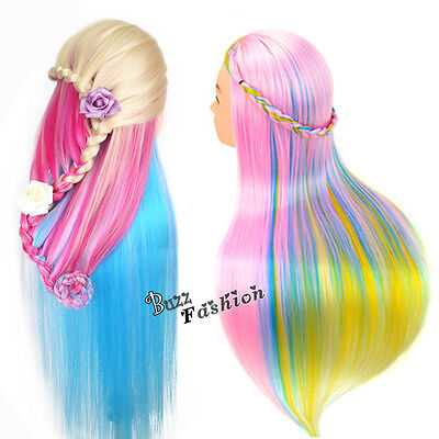 Hairdressing Practice Colorful Long Hair Head Training Mannequin New