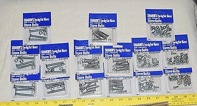 95 Stove Bolt Zinc Chromate Flat & Round Head Bolts Assorted Sizes New Old Stock