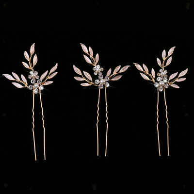 3pcs Wedding Banquet Bridal Pearls Leaves Crystal Pearls Hair Pins Clips