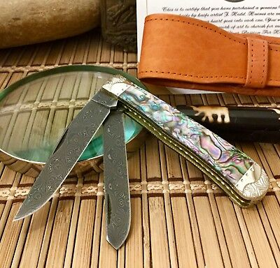Case XX Wild Horse Custom Genuine PAUA ABALONE Raindrop Damascus Trapper Knife 1