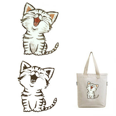 Kids Washable Cats Heat Transfer Stickers Iron Appliques Patches