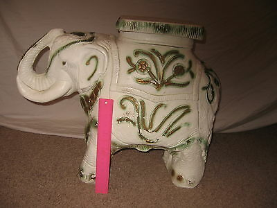 Mexico Vintage Glazed Ceramic Elephant Plant Stand Table or Garden Stool