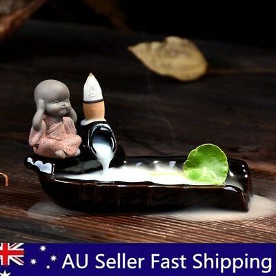 Ceramic Monk Buddha Backflow Incense Burner Smoke Censer Cone Holder Decor AU