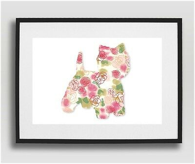 Westie Pop Art - Abstract Floral Rose West Highland Terrier Dog Wall Decor Gift