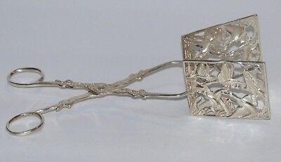 Vintage Sterling Silver Scissor Tongs Square Pastry Grabbers Flying Birds Geese