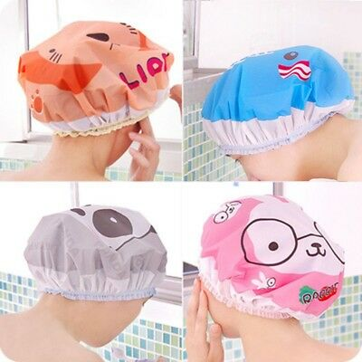 Cartoon Waterproof Shower Cap Bathing Bath Salon Hair Head Cap Hat Reusable
