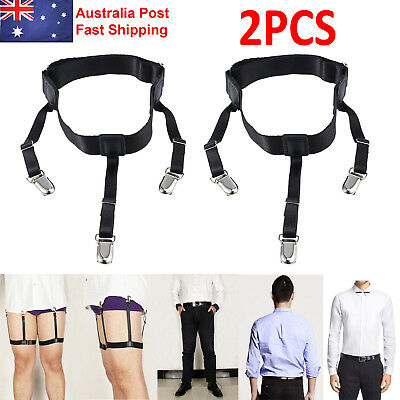 T Shirt Suspender Stays Holders Elastic Garter with Non-slip Locking Clamps AU