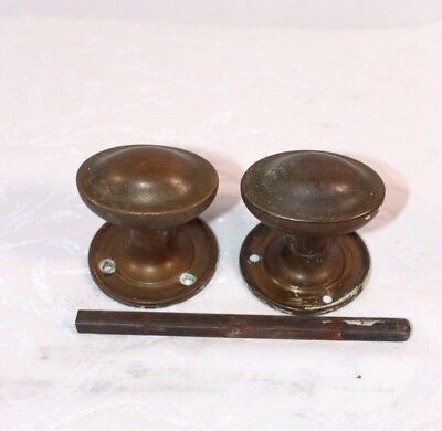 Door knobs Pair Brass Door furniture Oval With bar Antique Upcycle Salvage  B43a