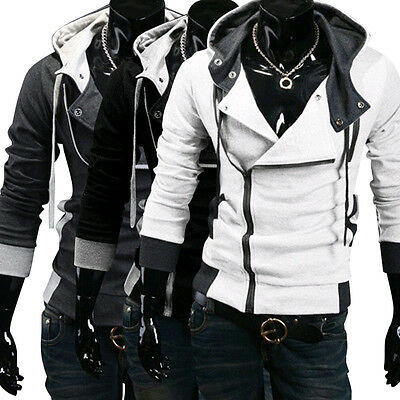 Men Stylish Creed Hoodie Cool Slim Cosplay For Assassins Jacket Costume Coat US