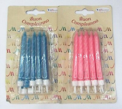 10 PZ candeline candles candele rosa o blu glitterate party compleanno festa new