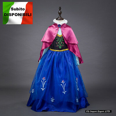 Frozen Vestito Carnevale Maschera Anna Girl Dress up Costume  Cape caldo Italia