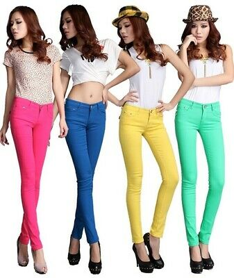 Skinny Jeans Pants Ladies Slim Fit Jeggings Womens Stretch Cotton Colourful NEW