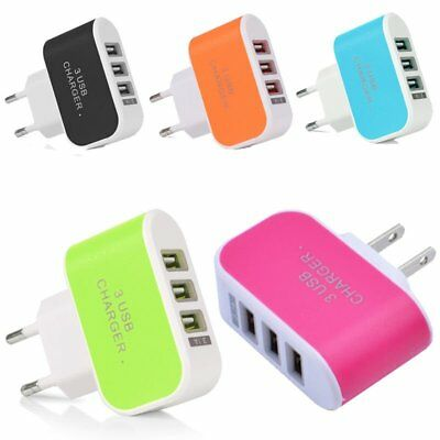 3-Ports USB Multi Adapter Travel Wall AC Charger EU/US Plug for Phones 3.1A