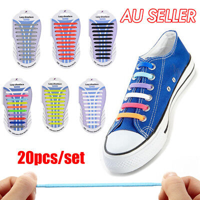 Easy No Tie Elastic Lazy Shoe Lace Shoelaces Silicone Kids Adult Unisex 20pcs