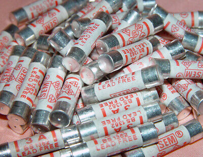 100 x 3A Fuses Main Plug Electrical Cartridge British Standards Household