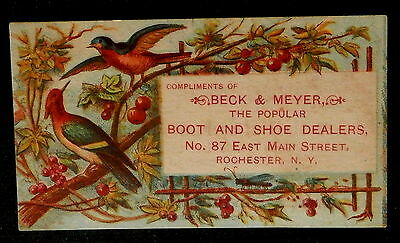 Tradecard BECK & MEYER Rochester New York THE POPULAR BOOTS and SHOES DEALERS