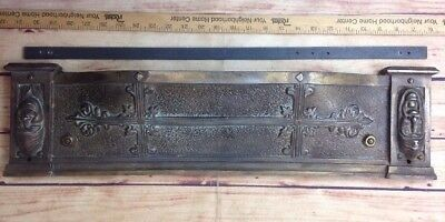 Antique Vintage Brass Fireplace Panel Architectural Mantel Piece Tragedy Comedy
