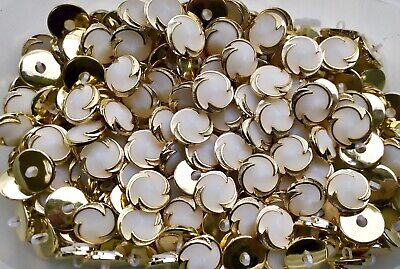 P9 P10 P11 15mm 18mm 20mm White /& Gold Pearl Shank Dress Jacket Coat Buttons