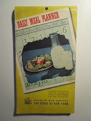Vintage 1941 Dairy Collectible Daily Meal Planner ~ Bureau of Milk Publicity NY