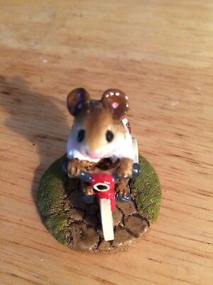 Wee Forest Folk WFF Mousey's Tricycle M-101 Gray Pants riding Red Tricycle bike