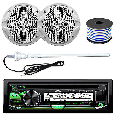 "JVC CD MP3 Bluetooth USB AUX AM/FM Marine Receiver,4X 6.5"" Speakers,Wire,Antenna"