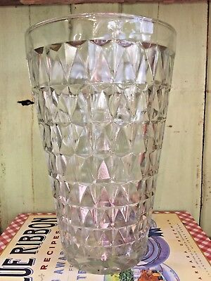 "LARGE Vintage Pressed Glass Vase EO Brody Co Cleveland Ohio USA 10"" TALL decor"