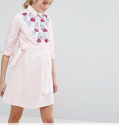 BRANDED Maternity Exclusive Shirt Dress With Embroidery in Pink UK 14/EU 42