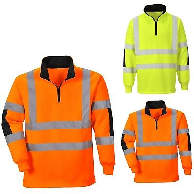Portwest Hi Vis Rugby Sweatshirt Brushed Contrast Elbow Panel Top Jumper