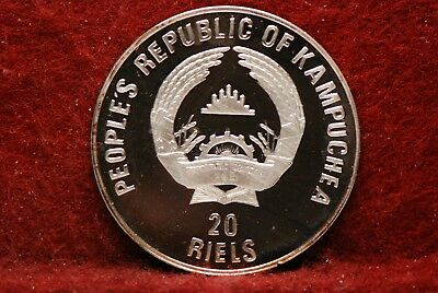 Cambodia, 1989 20 Reils, KM37, silver, Choice Proof, Or Best Offer,         10jj