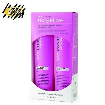 INEBRYA ICE CREAM NO YELLOW KIT SHAMPOO E MASCHERA ANTI GIALLO 300 ml