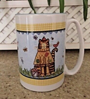 Cat With Sweater & Basket Of Apples Sitting On Grass Coffee Mug Kitty Cat Lovers