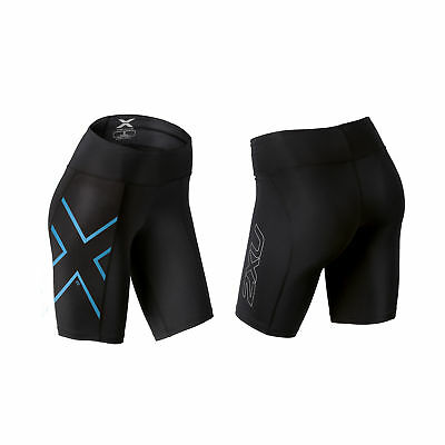 2XU Women's ICE-X Mid-Rise Compression Shorts Black/Ice Blue M