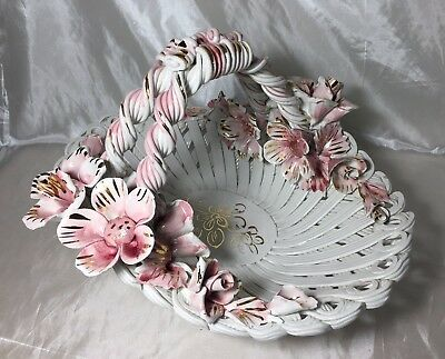 EX RARE Gorgeous Vintage HUGE Capodimonte Woven Basket Pink Flowers Gold ITALY