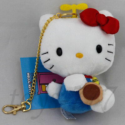 """Hello Kitty with Cookie Figure Golden Metal Line 5"""" Stuffed Animal Plush Toy Cat"""