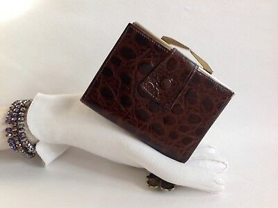 Dark Brown Moc Croc Leather 1960s Vintage Coin Purse Wallet Tan Leather Lining