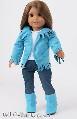Teal Blue Western Fringe Cowgirl Cowboy Outfit Doll Boots 4 American Girl Doll